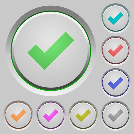 ok: Set of ok sunk push buttons. Well-organized layer, color swatch and graphic style structure. Easy to recolor.