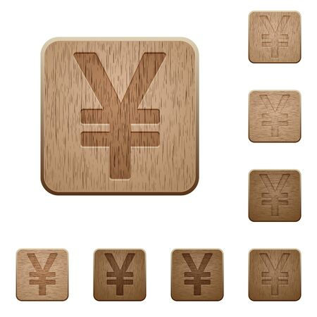 japanese yen: Set of carved wooden yen sign buttons. 8 variations included. Arranged layer structure.