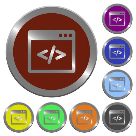 asp: Set of glossy coin-like color programming code buttons. Arranged layer structure.
