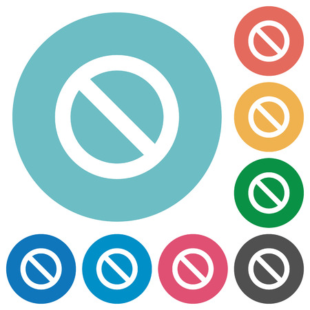 blocked: Flat blocked icon set on round color background. 8 color variations included with light teme.
