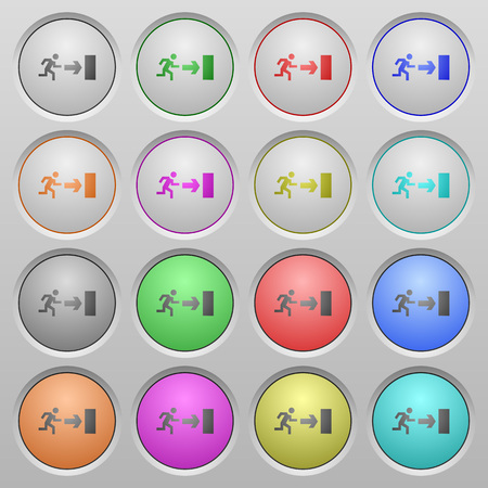 humped: Set of exit plastic sunk spherical buttons. 16 variations included. Well-organized layer, color swatch and graphic style structure.
