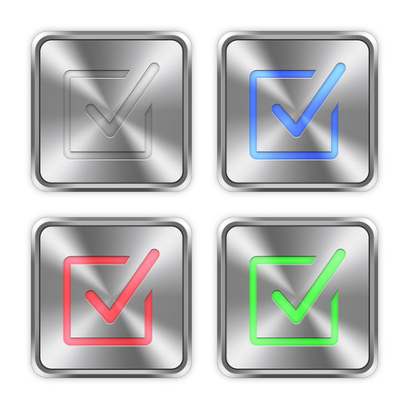 layer styles: Color checked box icons engraved in glossy steel push buttons. Well organized layer structure, color swatches and graphic styles. Illustration