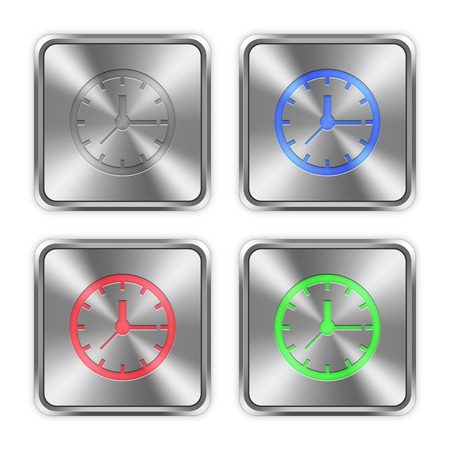 layer styles: Color clock icons engraved in glossy steel push buttons. Well organized layer structure, color swatches and graphic styles. Illustration