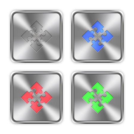 Color modules icons engraved in glossy steel push buttons. Well organized layer structure, color swatches and graphic styles.