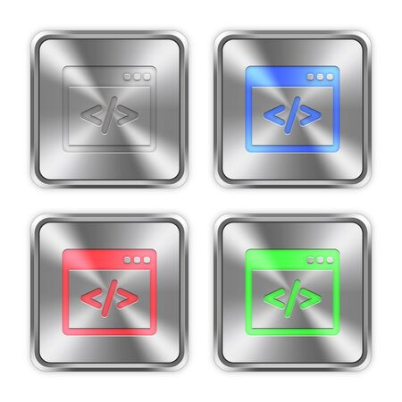 asp: Color programming code icons engraved in glossy steel push buttons. Well organized layer structure, color swatches and graphic styles.