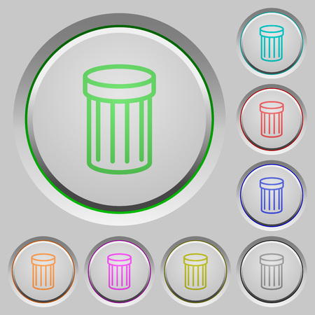 wastage: Set of trash sunk push buttons. Well-organized layer, color swatch and graphic style structure. Easy to recolor.