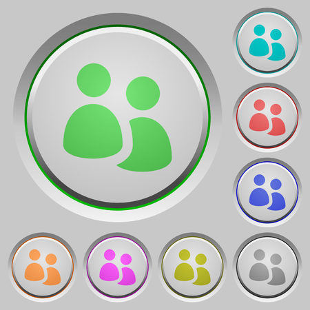 humped: Set of user group sunk push buttons. Well-organized layer, color swatch and graphic style structure. Easy to recolor.