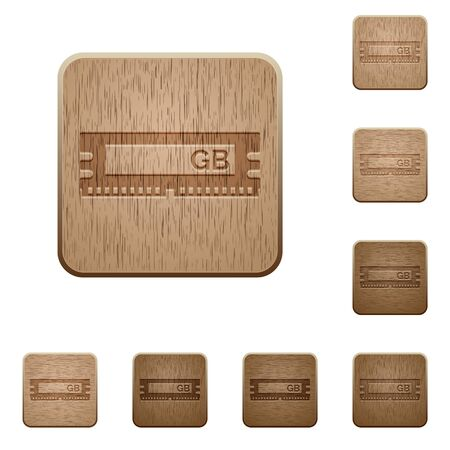 kilobyte: Set of carved wooden ram chip buttons. 8 variations included. Arranged layer structure. Illustration