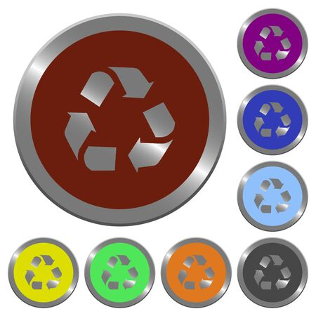 conservationist: Set of glossy coin-like color recycling buttons. Arranged layer structure.