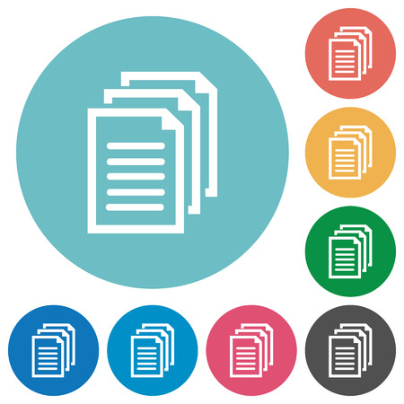 Flat documents icon set on round color background. 8 color variations included with light teme.