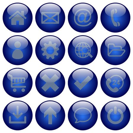 status icon: Basic web button set in round glossy style with dark blue colors. Disabled status icon color used. Illustration