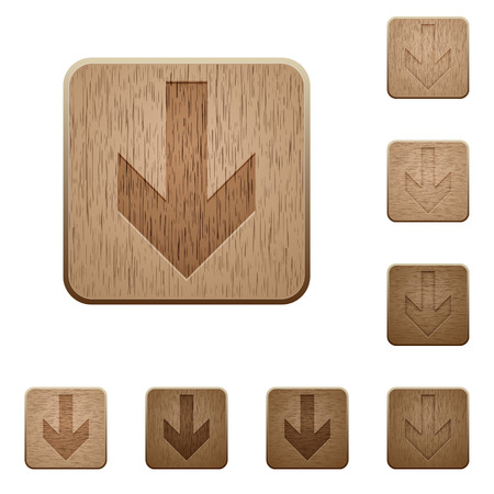 variations: Set of carved wooden down arrow buttons in 8 variations.