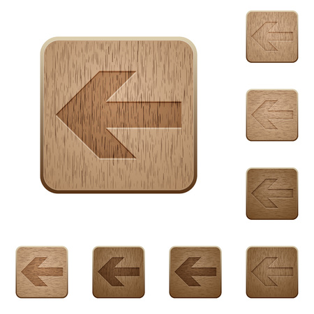 carved: Set of carved wooden left arrow buttons in 8 variations.