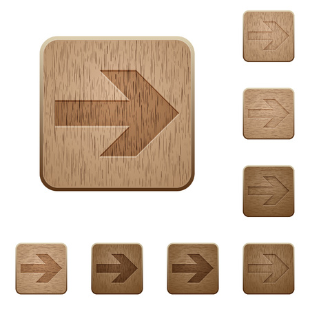 carved: Set of carved wooden right arrow buttons in 8 variations.