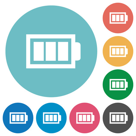 Flat full battery icon set on round color background. 8 color variations included with light teme. Illustration