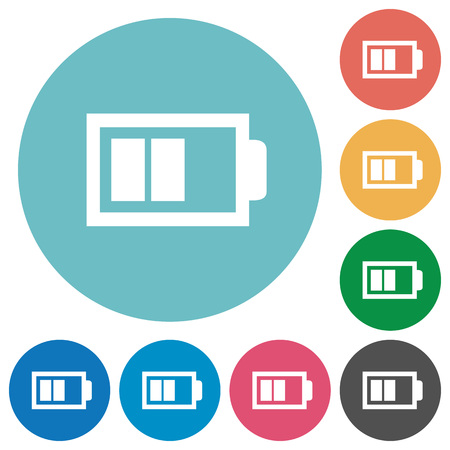 Flat half battery icon set on round color background. 8 color variations included with light teme.
