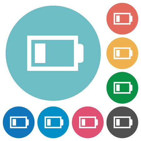 accu: Flat low battery icon set on round color background. 8 color variations included with light teme. Illustration