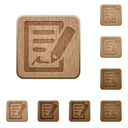 variations: Set of carved wooden contract signing buttons in 8 variations. Illustration