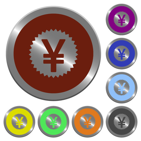 coinlike: Set of glossy coin-like color yen stricker buttons. Illustration