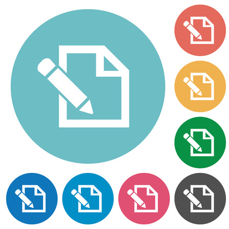 edit icon: Flat edit icon set on round color background.