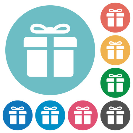 largess: Flat gift icon set on round color background. Illustration