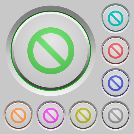 no edges: Set of color blocked sunk push buttons. Illustration