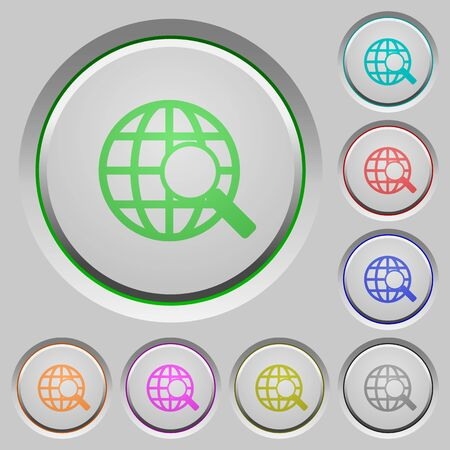 sunk: Set of color web search sunk push buttons.