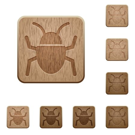 malicious software: Set of carved wooden bug buttons in 8 variations.