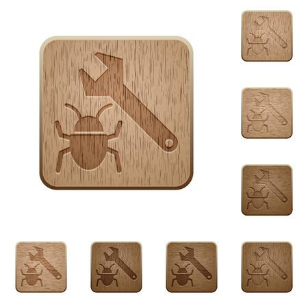 fixing: Set of carved wooden bug fixing buttons in 8 variations. Illustration