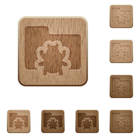 variations set: Set of carved wooden bug folder buttons in 8 variations. Illustration