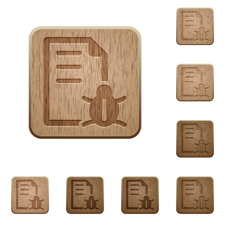 debugging: Set of carved wooden bug report buttons in 8 variations.