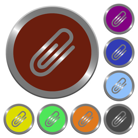 Set of glossy coin-like color attachment buttons.