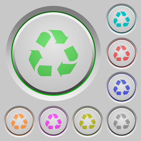 conservationist: Set of color recycling sunk push buttons. Illustration