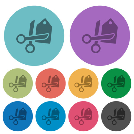 price cut: Color price cut flat icon set on round background.