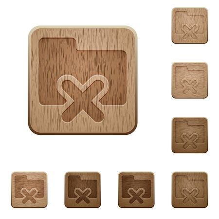 variations: Set of carved wooden folder cancel buttons in 8 variations. Illustration
