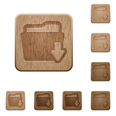 variations: Set of carved wooden download folder buttons in 8 variations. Illustration