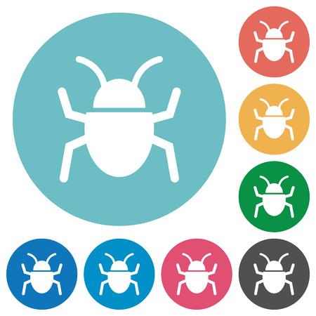 debugging: Flat bug icon set on round color background. Illustration