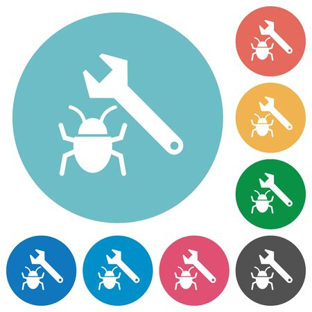 debugging: Flat bug fixing icon set on round color background.