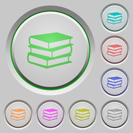 sunk: Set of color books sunk push buttons.