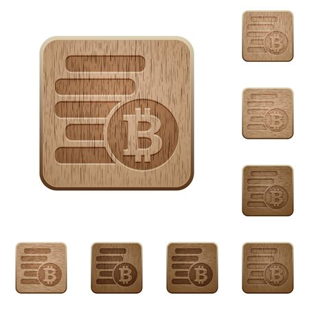 variations: Set of carved wooden bitcoins buttons in 8 variations. Illustration