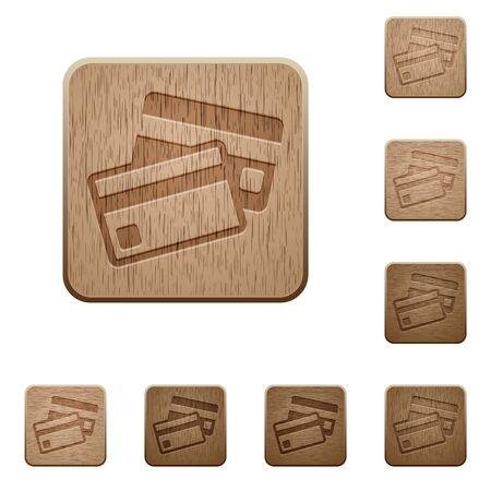 polished wood: Set of carved wooden credit card buttons in 8 variations. Illustration
