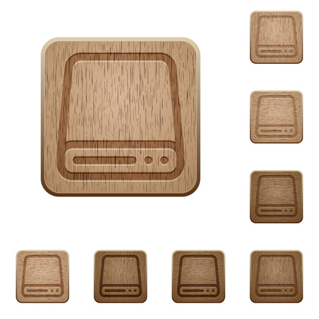tree disc: Set of carved wooden hard disk drive buttons in 8 variations.