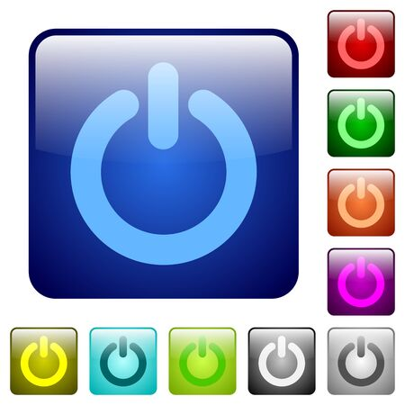 power off: Set of power off color glass rounded square buttons