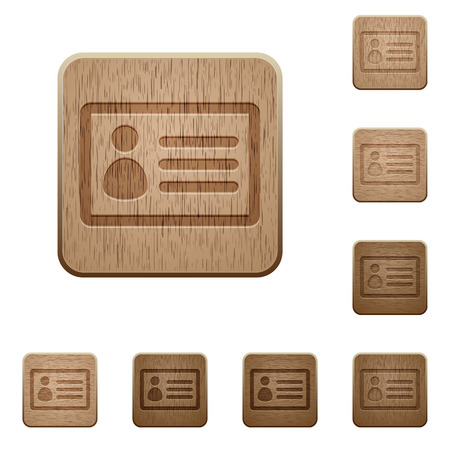 authorisation: Set of carved wooden ID card buttons in 8 variations. Illustration