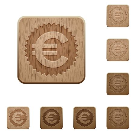 variations: Set of carved wooden Euro sticker buttons in 8 variations.