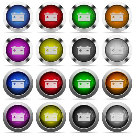 accu: Set of battery glossy web buttons. Arranged layer structure. Illustration