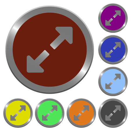 resize: Set of glossy coin-like color resize full buttons.