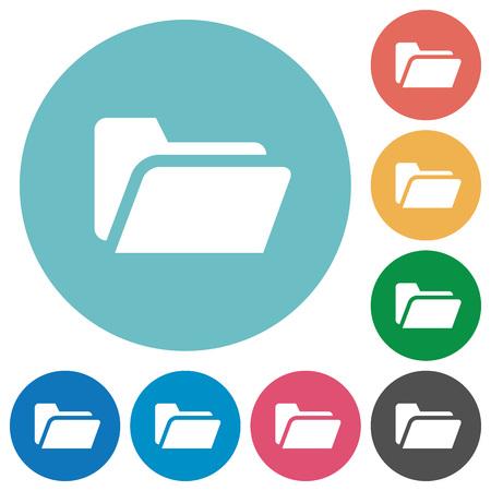 folder icon: Flat folder open icon set on round color background.