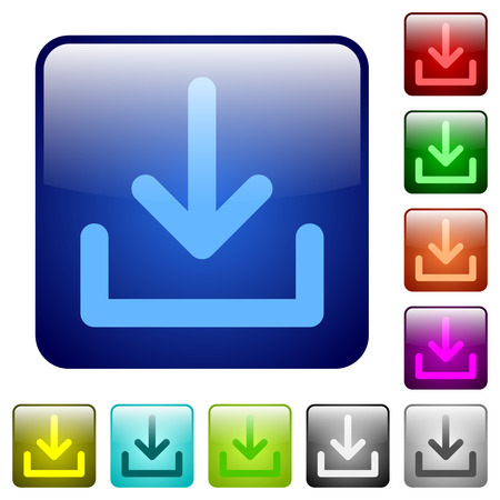 acquire: Set of download color glass rounded square buttons Illustration