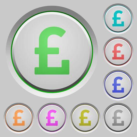 pound sign: Set of color Pound sign sunk push buttons. Illustration
